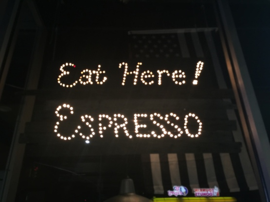 Signage for Cafe Via Espresso (Breuk Iversen)