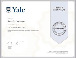 Breuk Iversen, YALE Certificate, Science of Being Happy