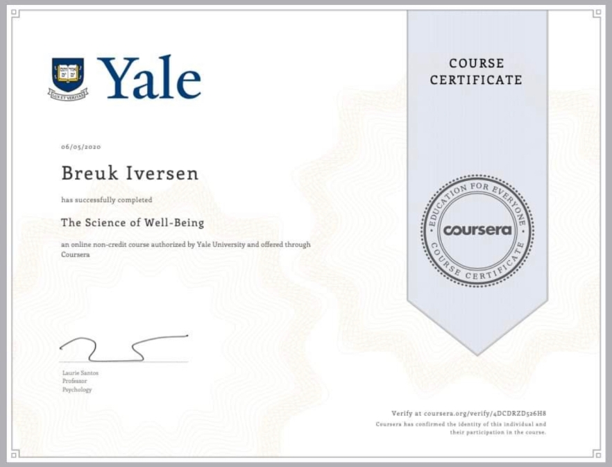 Breuk Iversen, YALE Certificate, Science of Being Happy